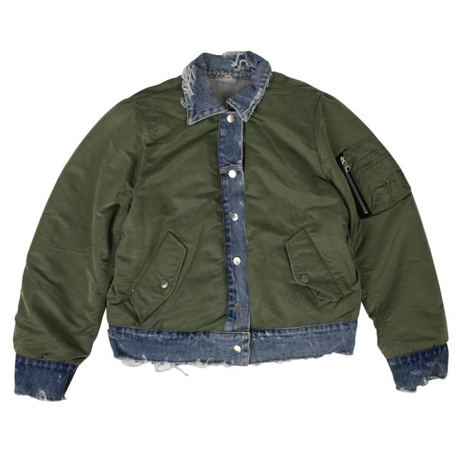 Item - Green Blue Denim/Green Reverse Trucker Bomber Jacket Size 12 (L)
