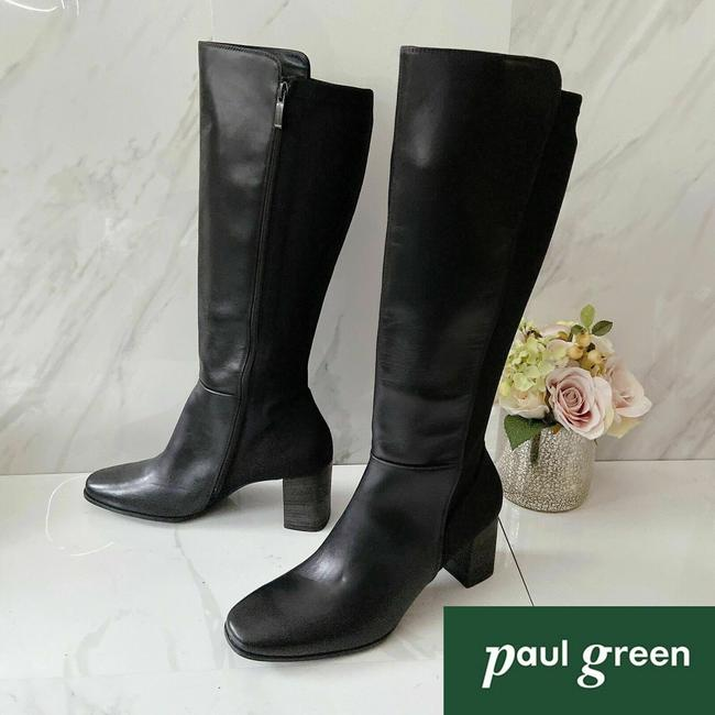 Item - Black Belmont Heel Knee High Stretch Leather Boots/Booties Size US 10.5 Regular (M, B)