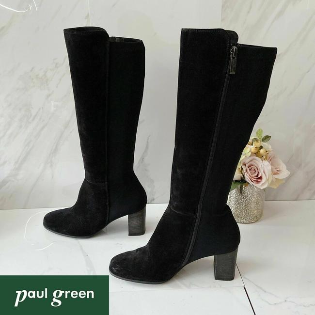 Item - Black Belmont Heel Knee High Stretch Suede Leather Boots/Booties Size US 7.5 Regular (M, B)