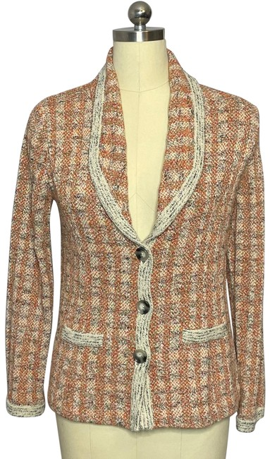 Item - Orange Cream Vintage Knit Plaid Blazer Size 6 (S)
