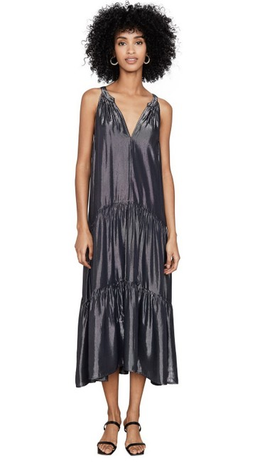 Item - Graphite Jorja Tiered Shimmer Long Night Out Dress Size 4 (S)
