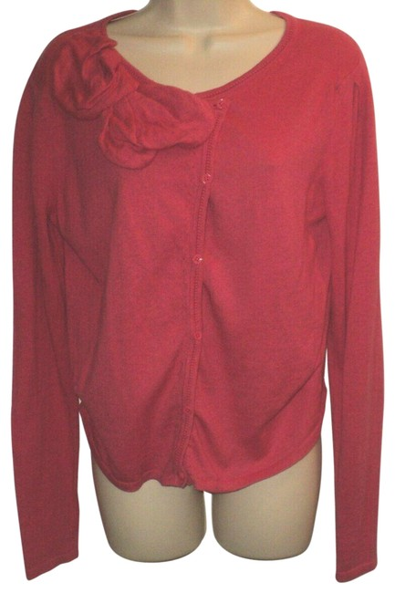 Item - Bow Accent Front Buttoned Long Sleeves Dark Pink Sweater