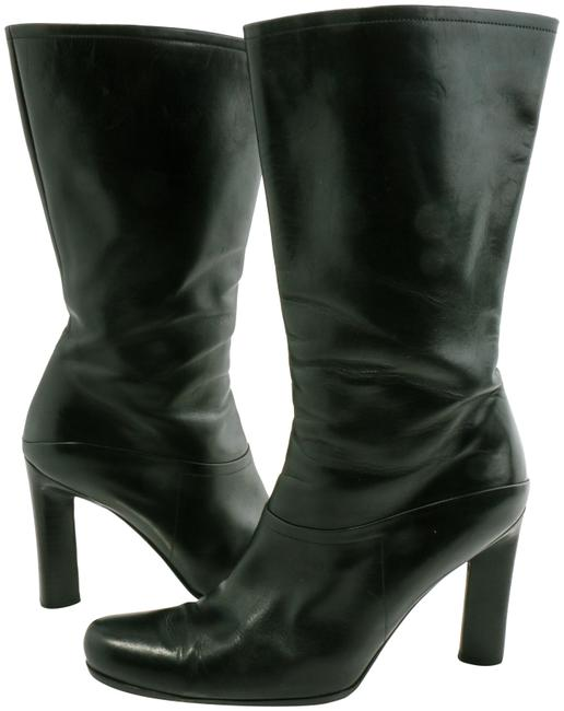 Item - Black Leather Mid-calf Heeled Boots/Booties Size EU 40 (Approx. US 10) Narrow (Aa, N)