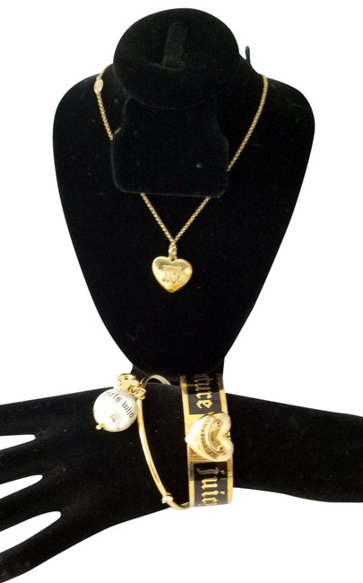 Item - Gold Heart For Nice Girls Three Piece and Bracelet Set Necklace