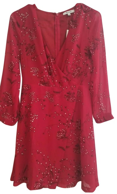 Item - Red Long Sleeves Short Casual Dress Size 00 (XXS)