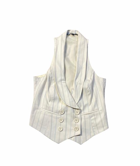 Item - Off White Pinstripes Double Breasted Vest Size 2 (XS)