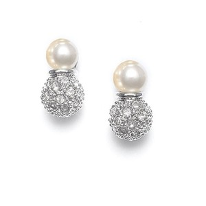 Set Of 3 Pairs Of Ivory Pearl Bridal Earrings With Pave Cz Balls
