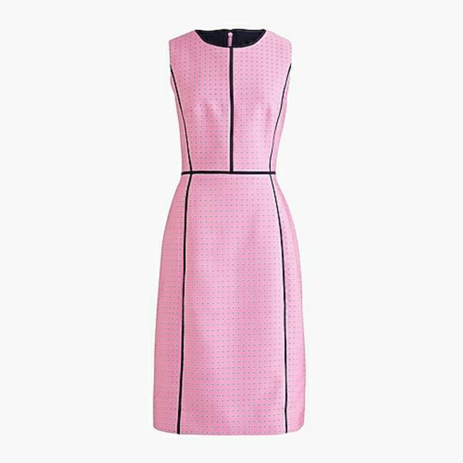 Item - Peony Pink with Contrasting Black Trims Sheath In Foulard Print Mid-length Work/Office Dress Size 14 (L)