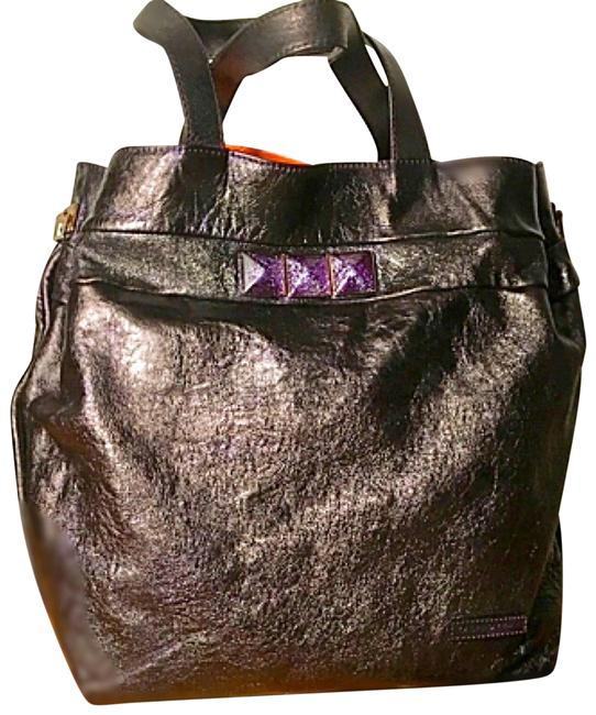 Item - W W/ Strap Purple/Charcoal Leather Hobo Bag