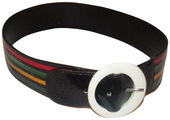 Item - Black/Red/Green/Blue/Gold Leather and Buckles Belt