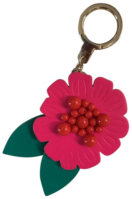 Item - Pink Red and Green Floral Leather Keychain