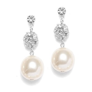 Swarovski Crystal Fireball & Ivory Pearl Drop Bridal Earrings