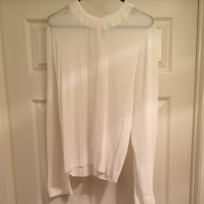Les Chiffoniers Silk Usa Crinkle S 1 Size Dressy Work Professional European Designer New Nwot Top White