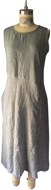 Item - Grey White Striped Beachy Chic Lounge Ankle Length Long Casual Maxi Dress Size 8 (M)