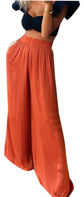 Item - Pink Flowy Satin Trousers Elastic Waisted Pants Size 12 (L, 32, 33)
