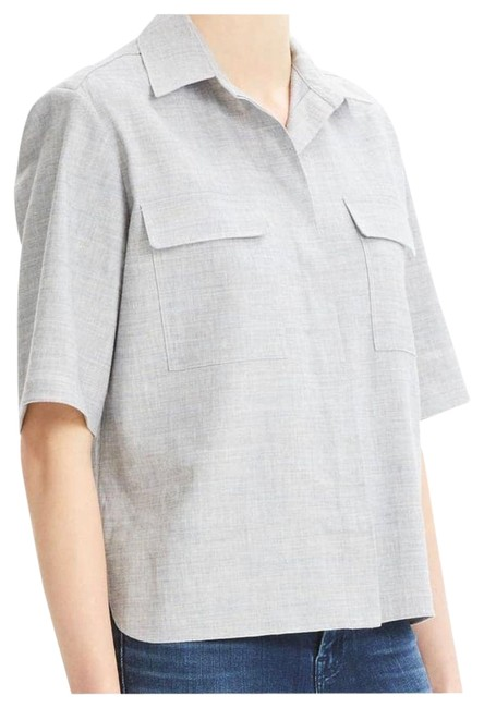 Theory Gray Good-linen Short Sleeve Classic Shirt Pockets Button Down Blouse Size 8 (M) Theory Gray Good-linen Short Sleeve Classic Shirt Pockets Button Down Blouse Size 8 (M) Image 1