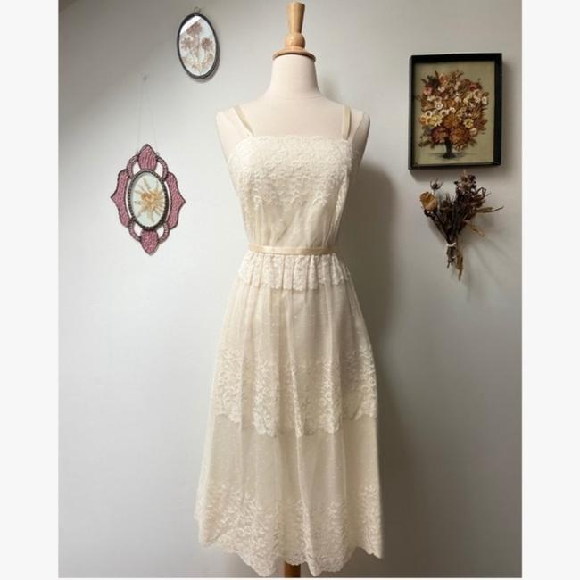 Item - Cream White Nylon Lace Casual Wedding Dress Size 2 (XS)