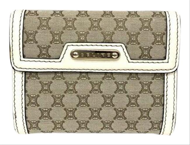 Item - Gray / Khaki / White Macadam W Bi-fold Hook Pattern Compact Canvas Leather G Card Ladies Wallet