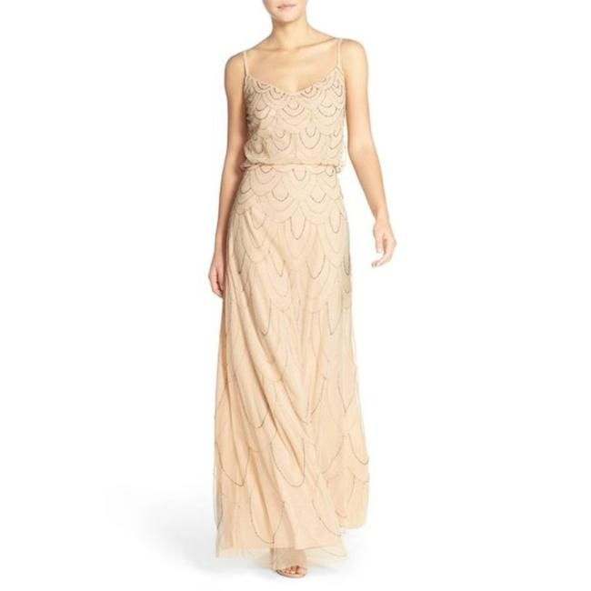 Item - Cream Gold Marseille Long Formal Dress Size 14 (L)