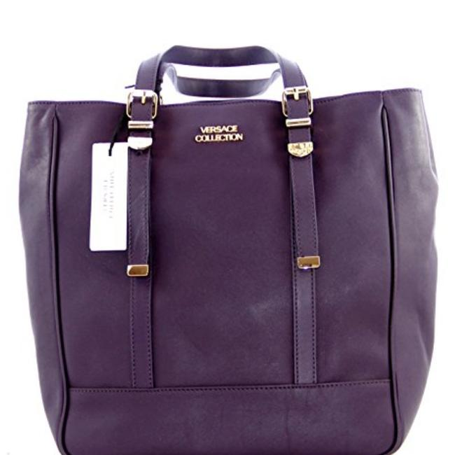 Item - Gianni Lbfs 354 Eggplant Is A Mix Of Blue & Purple Leather Tote