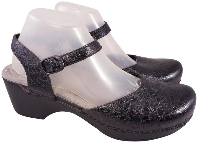 Item - Black Sam Ankle Strap Woman Tooled Floral Leather Mules/Slides Size EU 42 (Approx. US 12) Regular (M, B)