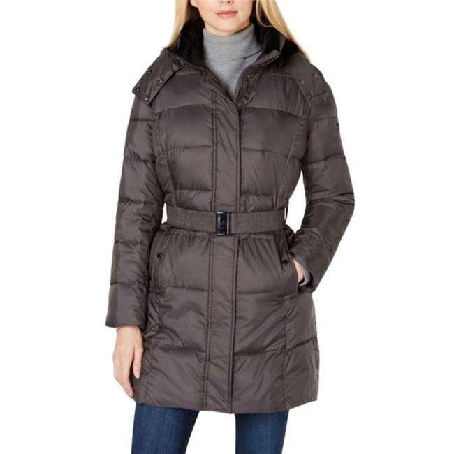 Item - Gray Faux Fur Lined Hooded Puffer Jacket In Titanium Color Coat Size 12 (L)