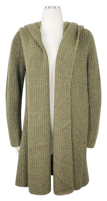 Item - Green Hooded Wool Chunky Ribbed Knit Open Front Long Sleeves Cardigan Size 8 (M)