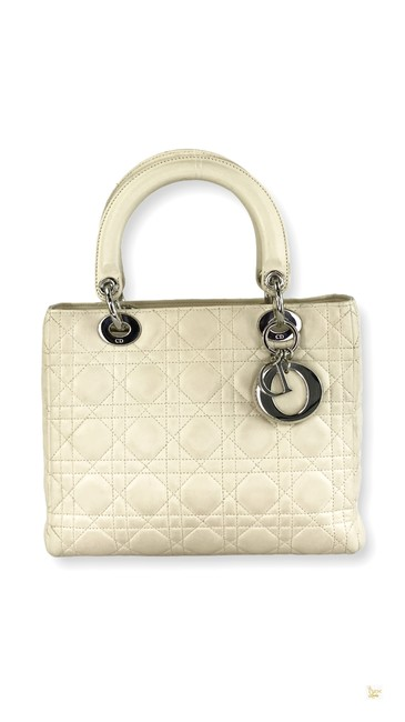 Item - Lady Quilted Cannage #38 Ivory Leather Tote