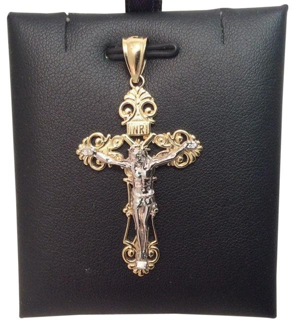 Item - Yellow 10k Two Tone Real Gold Fancy Crucifix Cross Pendant Charm