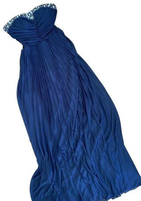 Item - Blue Maxi with Rhinestones and Strapless Long Formal Dress Size 4 (S)