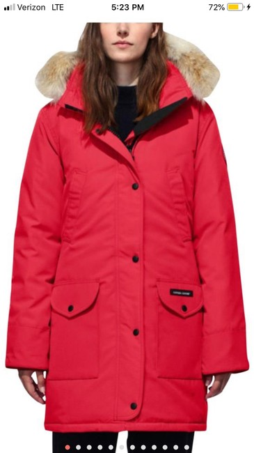Canada Goose Red W Trillium Down Parka W/ Real Fur Trim Coat Size 14 (L) Canada Goose Red W Trillium Down Parka W/ Real Fur Trim Coat Size 14 (L) Image 1