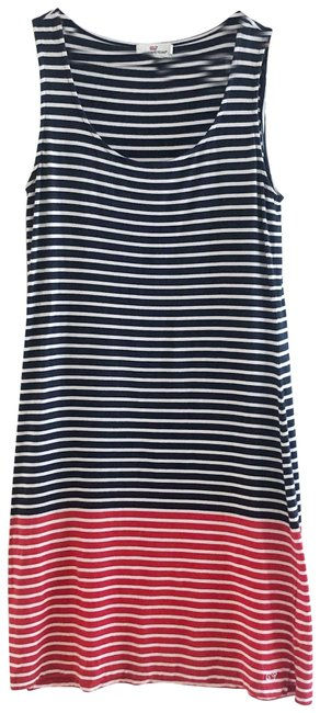Item - Blue Red Striped Colorblock Short Casual Dress Size 4 (S)