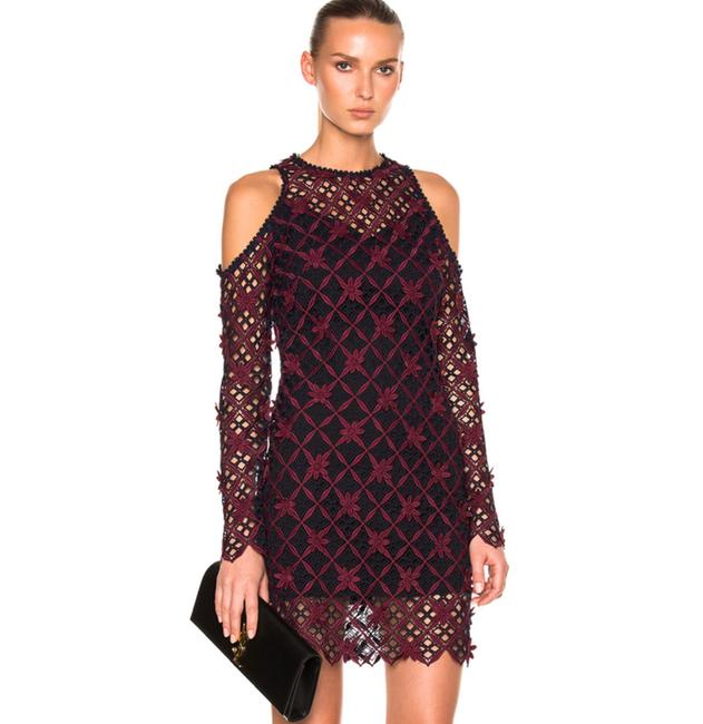 Item - Multi Burgundy Navy Floral Grid Cold Shoulder Mini Short Cocktail Dress Size 2 (XS)