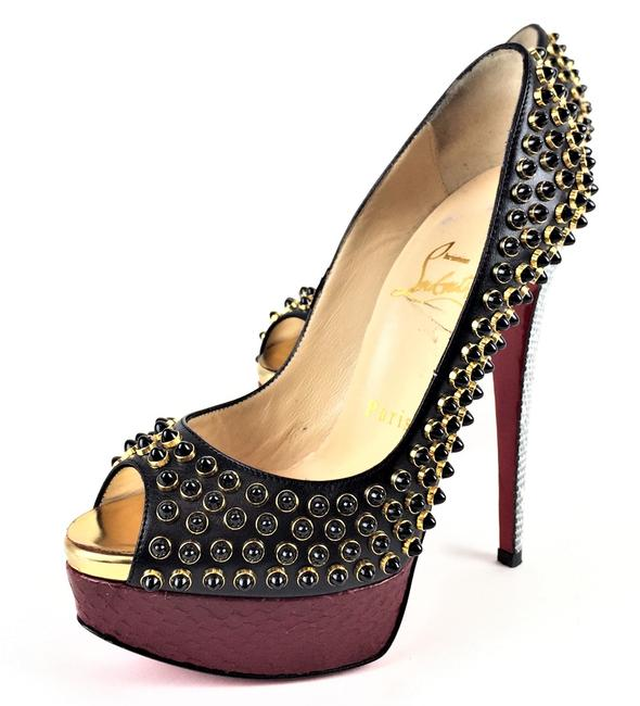 Item - Black Gold & Red Kid Watersnake Beaded Lady Cabo Pumps Size EU 34 (Approx. US 4) Narrow (Aa, N)