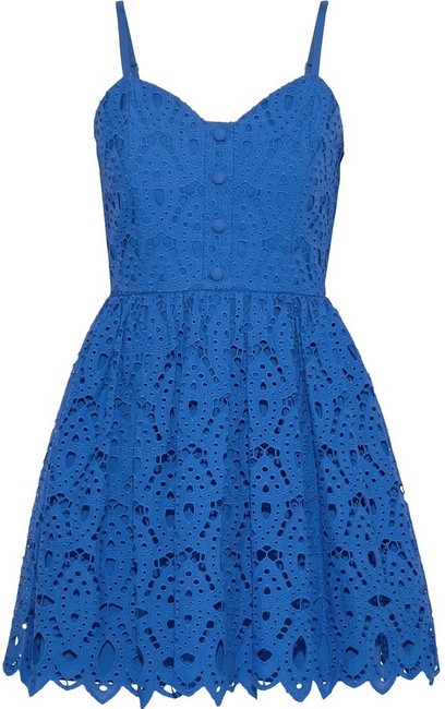 Alice + Olivia Royal Blue Nelly Button Down Short Cocktail Dress Size 10 (M) Alice + Olivia Royal Blue Nelly Button Down Short Cocktail Dress Size 10 (M) Image 1