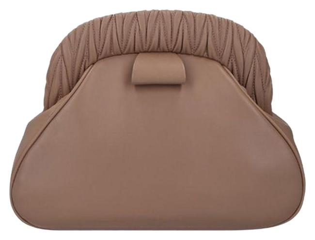 Item - Nappa with Matelasse Detail Nude Leather Clutch