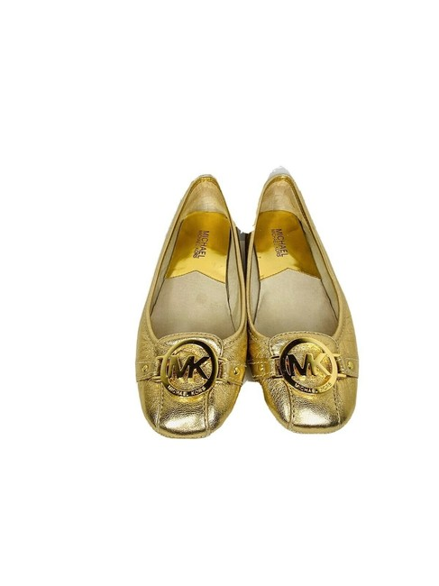 Item - Gold Logo Leather Flats Size US 6.5 Regular (M, B)