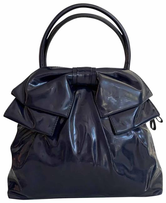 Item - Lucca Bow Dome Navy Blue Patent Leather Tote