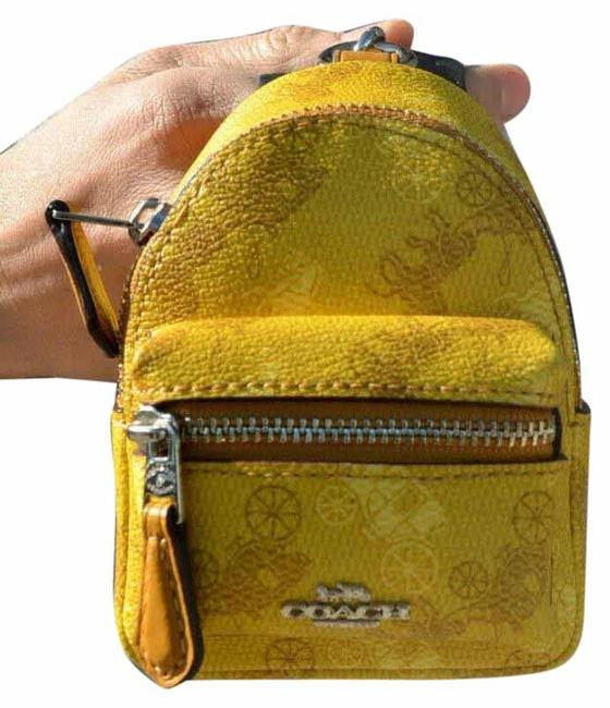 Item - Yellow Backpack Mini Keychain Bag Charm Coin Case