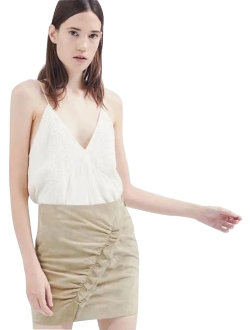 Item - Beige Cerry Front Ruffle Suede In Light Khaki Us M Skirt Size 6 (S, 28)