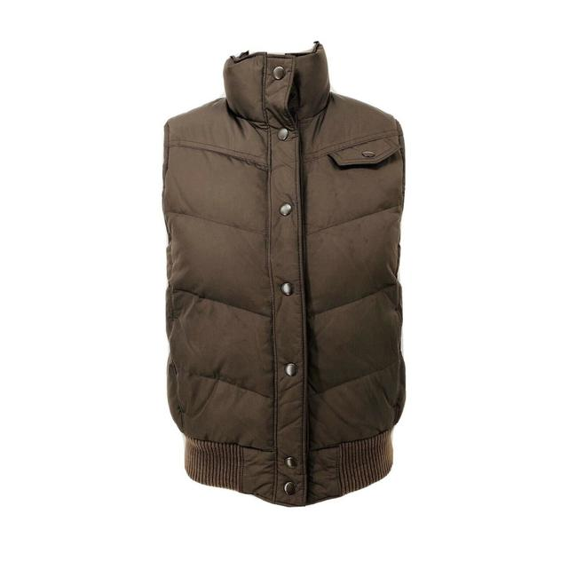 Item - Brown Chocolate Puffer with Pink Lining Snaps 2 Pockets Sml Vest Size 4 (S)