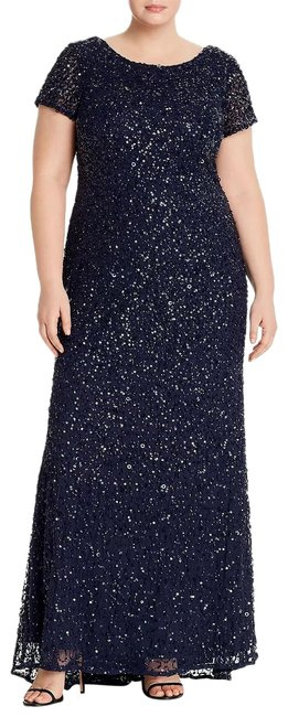 Item - Gunmetal/Navy Short-sleeve All Over Sequin Gown Petite Long Formal Dress Size 20 (Plus 1x)