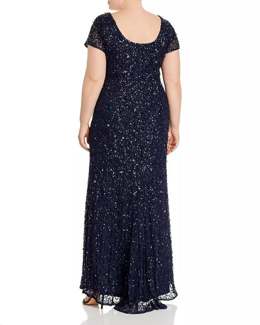 Adrianna Papell Gunmetal/Navy Short-sleeve All Over Sequin Gown Petite Long Formal Dress Size 20 (Plus 1x) Adrianna Papell Gunmetal/Navy Short-sleeve All Over Sequin Gown Petite Long Formal Dress Size 20 (Plus 1x) Image 2