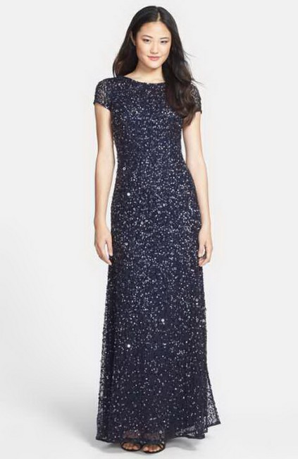 Adrianna Papell Gunmetal/Navy Short-sleeve All Over Sequin Gown Petite Long Formal Dress Size 20 (Plus 1x) Adrianna Papell Gunmetal/Navy Short-sleeve All Over Sequin Gown Petite Long Formal Dress Size 20 (Plus 1x) Image 4