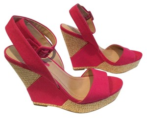 BCBGeneration Very High Pink and straw Wedges
