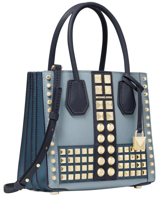 Michael Kors Mercer Medium Studded Accordion Powder Blue Saffiano Leather Cross Body Bag Michael Kors Mercer Medium Studded Accordion Powder Blue Saffiano Leather Cross Body Bag Image 1