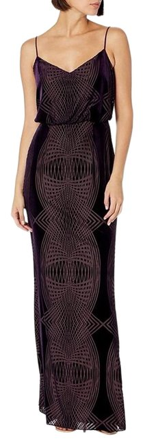 Adrianna Papell Purple Burn Out Velvet Blouson Gown Long Cocktail Dress Size 6 (S) Adrianna Papell Purple Burn Out Velvet Blouson Gown Long Cocktail Dress Size 6 (S) Image 1