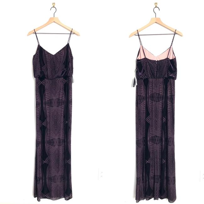 Adrianna Papell Purple Burn Out Velvet Blouson Gown Long Cocktail Dress Size 6 (S) Adrianna Papell Purple Burn Out Velvet Blouson Gown Long Cocktail Dress Size 6 (S) Image 3