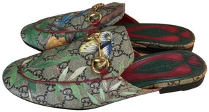 GUCCI brown, green, red, gold, multi Mules