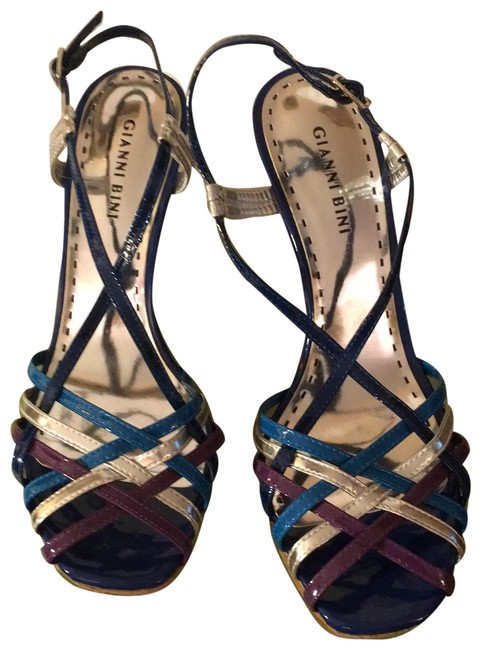 Item - Heel Royal Blue Straps Are A Brighter Blue Purple and Silver Flare Platforms Size US 9 Regular (M, B)